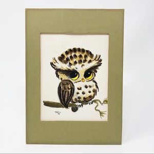 Vintage Owl Watercolor Painting by Lois Mae Thayer